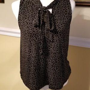 Beacon Palila Tie Detail Knit Top M Black w/ White